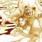 Porcelaine, l'œil du tigre assoupi